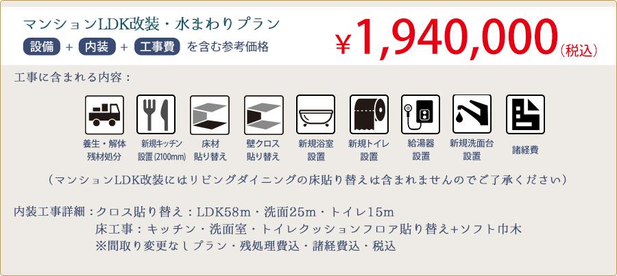 マンションLDK・水まわりプラン 参考価格